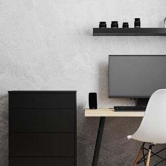Posto di lavoro con pc su tavolo in legno stile loft con sedia bianca