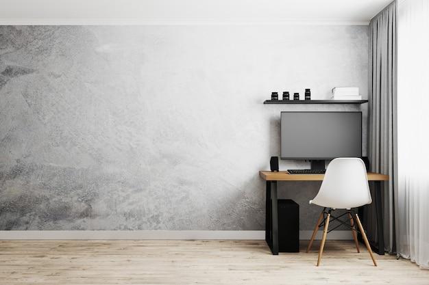 Posto di lavoro con pc sulla tavola di legno con sedia moderna bianca, parete vuota grigia con pavimento in legno, concetto di lavoro da casa, rendering 3d