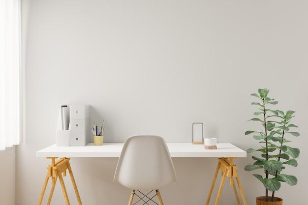Forniture da scrivania per ufficio domestico dell'area di lavoro sul posto di lavoro dell'ufficio. rendering 3d.