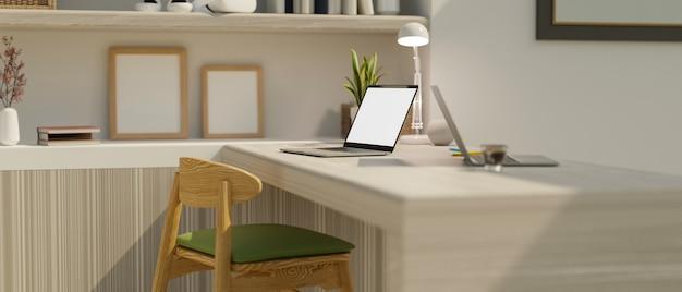 Area di lavoro nel rendering 3d di interior design moderno del soggiorno