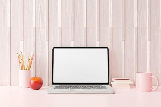 Area di lavoro con computer portatile con schermo vuoto. rendering 3d.