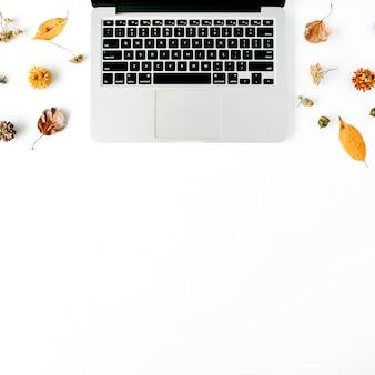 Area di lavoro con laptop, ghianda, foglie gialle su bianco