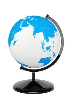 Mappamondo desktop mondiale su sfondo bianco