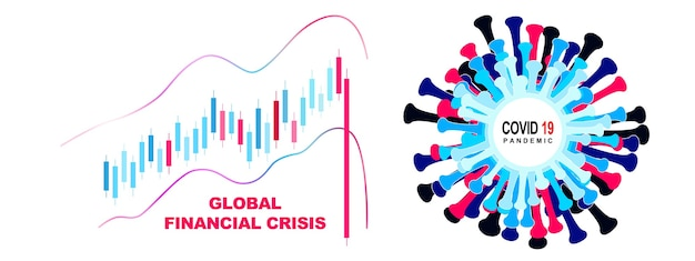 Economia mondiale e concetto di virus corona. l'impatto del coronavirus in borsa.