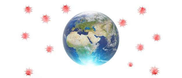 Economia mondiale e concetto di virus corona. l'impatto del coronavirus sul mondo. illustrazione 3d