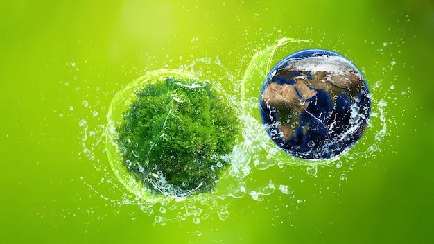 Concetto di giornata mondiale dell'ambiente, giornata della terra, terra e albero sugli spruzzi d'acqua
