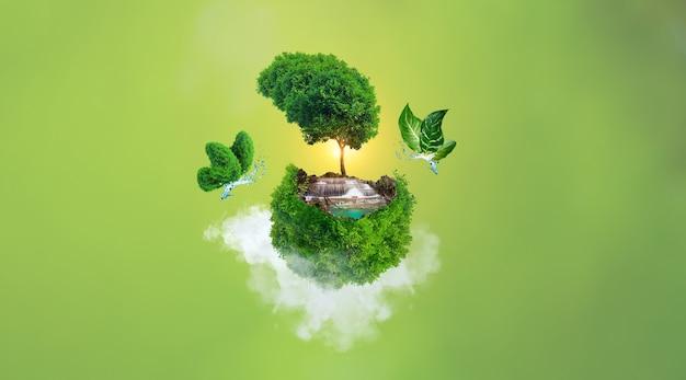 Concetto di giornata mondiale dell'ambiente, giornata della terra, terra e albero con farfalla sulle nuvole