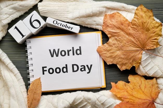 Giornata mondiale dell'alimentazione dell'autunno mese calendario ottobre