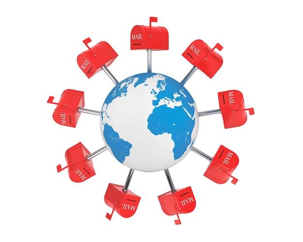 Concetto di posta mondiale. caselle di posta sopra il globo terrestre su sfondo bianco