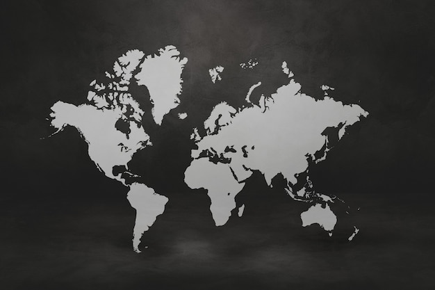 Mappa del mondo su sfondo nero muro di cemento. illustrazione 3d