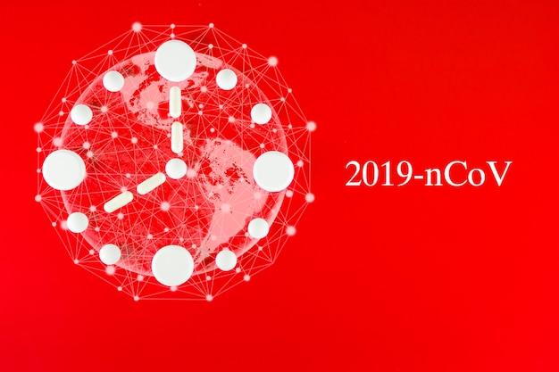 Mappa del mondo coronavirus covid-19, paesi con covid-19, mappa covid 19. aggiornamento della situazione della malattia di coronavirus 2019 diffusione mondiale del coronavirus. orologio fatto di compresse bianche su rosso.