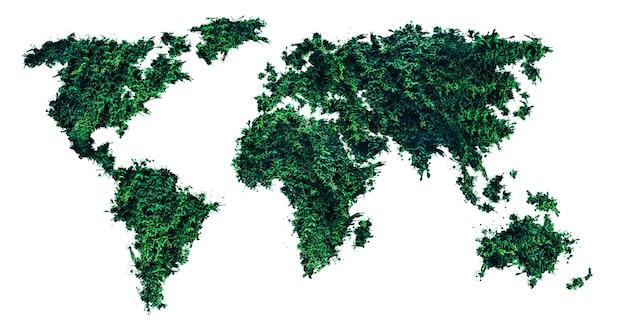 Mappa del mondo dall'erba verde. tendenze ecologiche. protezione dell'ambiente di piante e alberi. isolato su sfondo bianco.