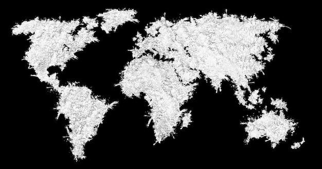 Mappa del mondo dall'erba bianca. isolato su sfondo nero.