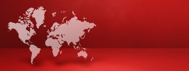 Mappa del mondo isolato su sfondo muro rosso. illustrazione 3d. banner orizzontale