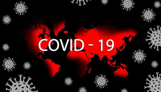 Mappa del mondo in cui le aree contrassegnate in rosso sono infette da covid 19
