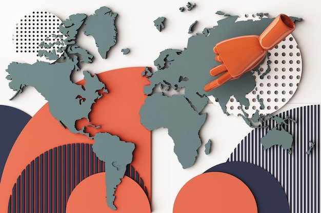 Mappa del mondo con la composizione astratta del concetto di mano umana di piattaforme di forme geometriche in tonalità arancione e blu. rendering 3d