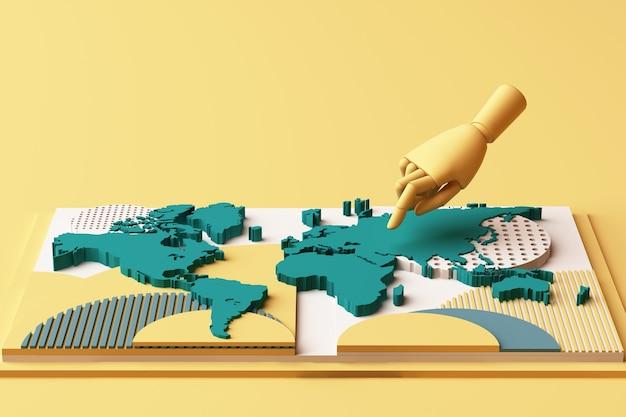 Mappa del mondo con la composizione astratta del concetto di mano umana di piattaforme di forme geometriche in tono giallo e verde. rendering 3d