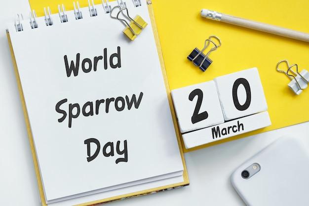 Calendario del mese di marzo della giornata mondiale del passero della primavera.