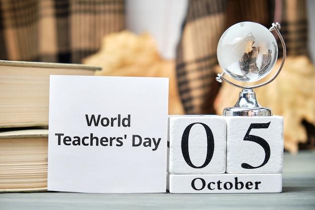 Giornata mondiale degli insegnanti del calendario del mese autunnale ottobre.