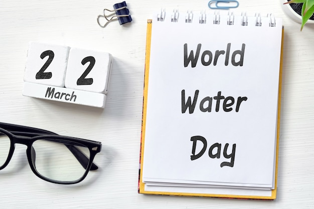 Calendario mensile della giornata mondiale dell'acqua di primavera marzo.