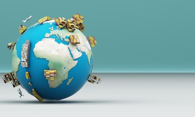 Rappresentazione mondiale di trasporto 3d del contenitore di carico