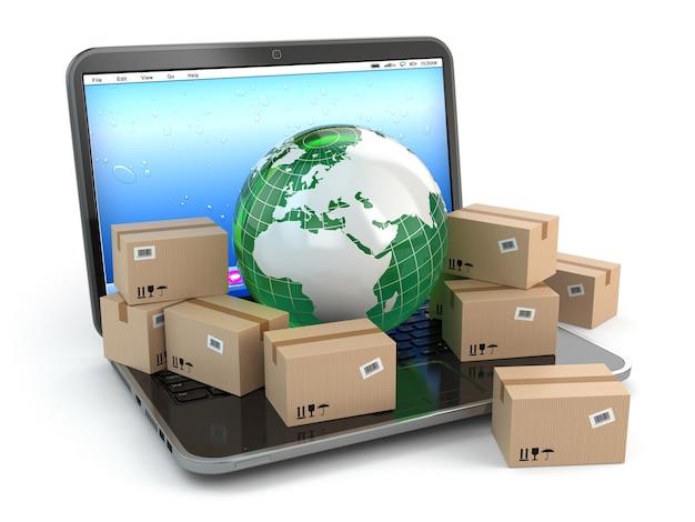 Consegna in tutto il mondo. terra e scatole sul computer portatile. 3d
