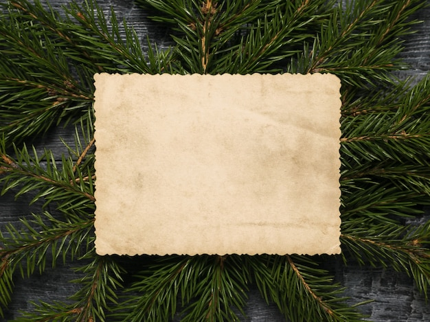 Un vecchio foglio di carta consumato su uno sfondo di rami di abete verde