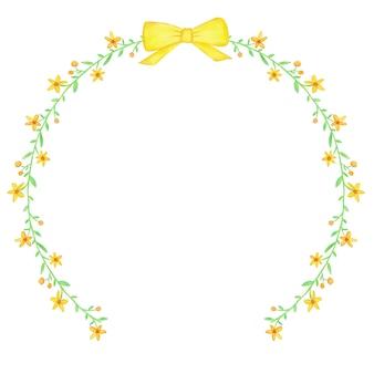 Corona di fiori primaverili dell'acquerello giallo e nastro
