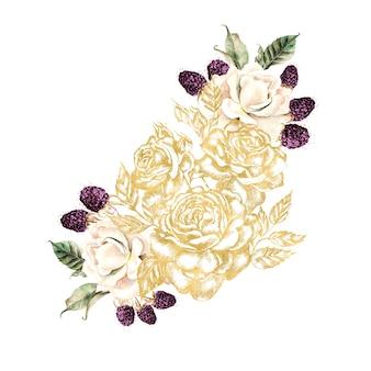 Ghirlanda con fiori e bacche grafici e acquerellati. illustrazione