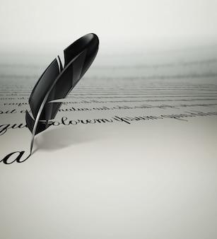 Una piuma di testo scritta su carta