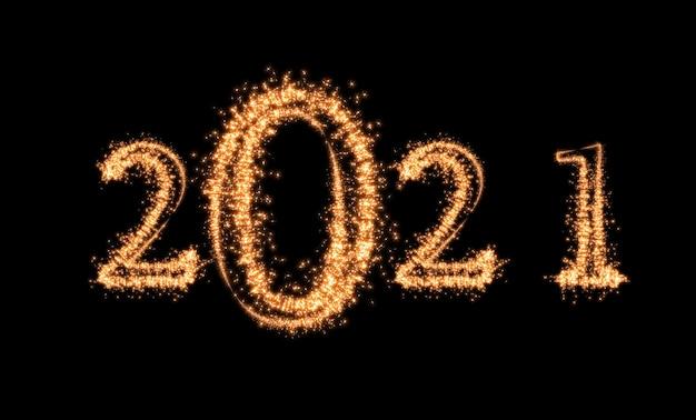 Scritto con fuochi d'artificio sparkle su sfondo scuro felice anno nuovo e buon natale celebrazione banner
