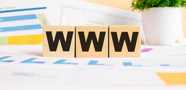 Parola www su cubi di legno. lo sfondo è un grafico aziendale. concetto di affari e finanza
