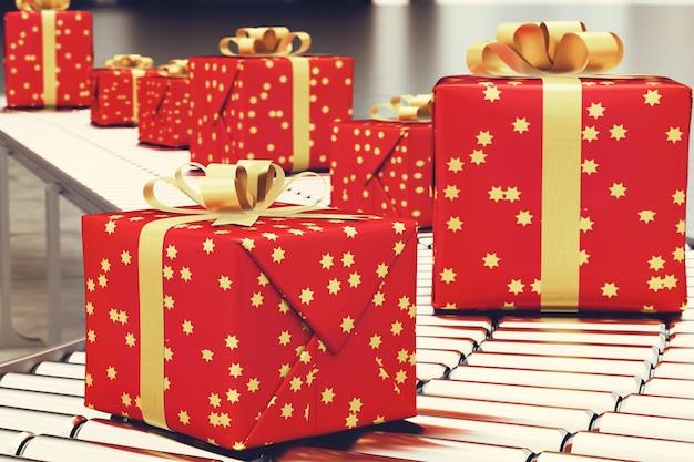 Scatole regalo di natale e avvolto su rullo trasportatore. rendering 3d