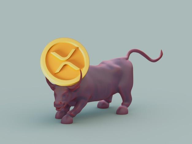 Xrp bull acquista la crescita degli investimenti sul mercato crypto currrency 3d illustration render