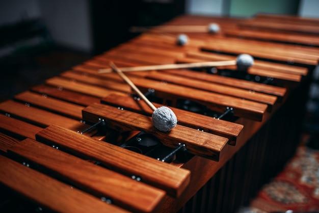 Primo piano dello xilofono, strumento a percussione in legno