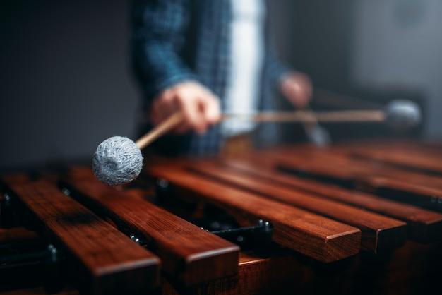 Mani del giocatore di xilofono con bastoni, suoni di legno. strumento musicale a percussione, vibrafono
