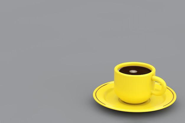 Anno del 2021 colori alla moda. giallo illuminante tazza di caffè su uno sfondo grigio finale. rendering 3d