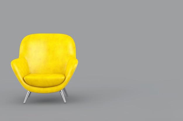 Anno del 2021 colori alla moda. sedia relax di forma ovale in pelle gialla moderna illuminante su uno sfondo grigio definitivo. rendering 3d