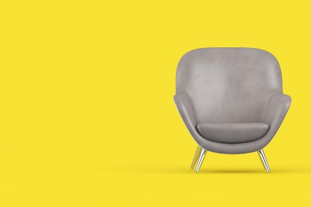 Anno del 2021 colori alla moda. poltrona relax di forma ovale in pelle grigia moderna su uno sfondo giallo illuminante. rendering 3d