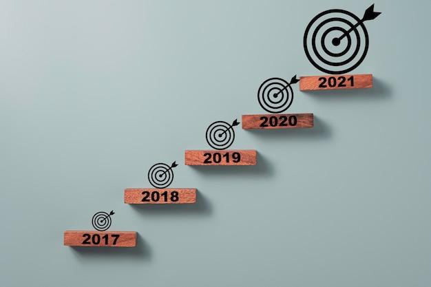 Schermata di stampa dell'anno su cubo di blocco di legno e freccette con freccia che è la più grande per gli altri anni, impostazione obiettivo aziendale e concetto di destinazione.