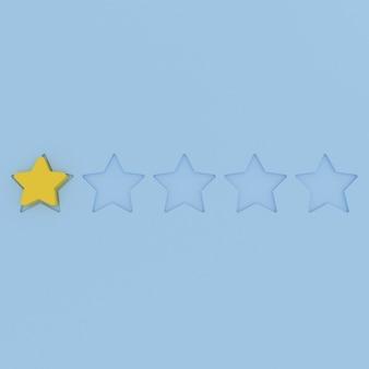 Icona gialla di valutazione a 1 stella su colori pastello uno su cinque simbolo isometrico punteggio peggiore recensione negativa