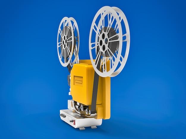 Proiettore cinematografico giallo 3d isolato sulla superficie blu