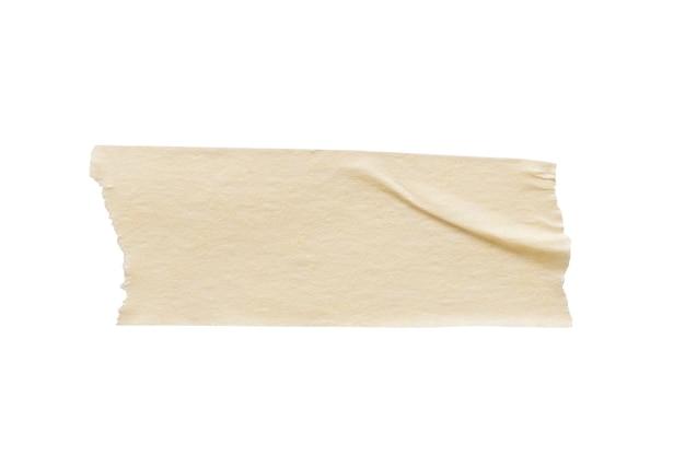 Nastro di carta adesivo giallo isolato su sfondo bianco