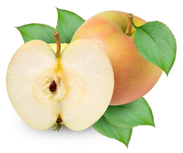 Frutta mela gialla isolata su bianco