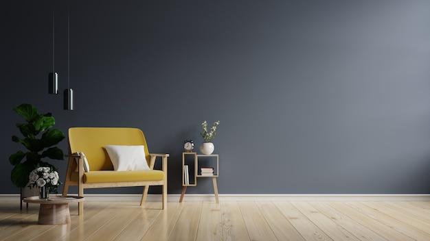 Poltrona gialla su sfondo muro scuro vuoto, rendering 3d3