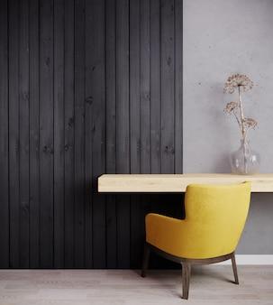 Poltrona gialla con pianta in camera luminosa con parete in legno scuro e camera con parquet in legno. stanza interna per mockup. rendering 3d
