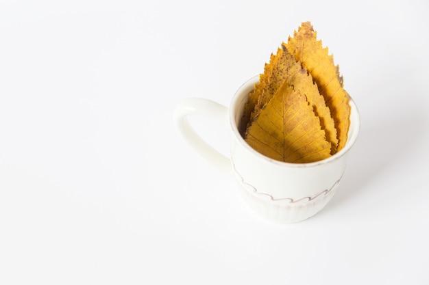 Fogli di autunno gialli nella tazza. spazio per il testo. sfondo bianco. stile minimalista.