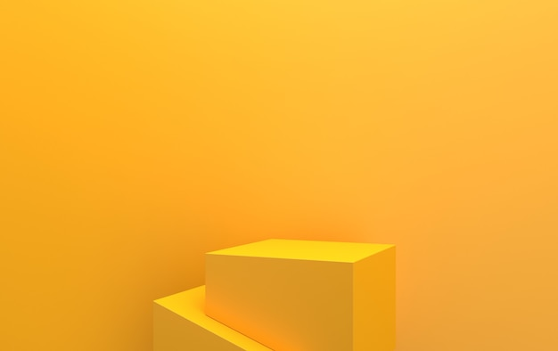Sfondo giallo, piedistallo cubico astratto forma geometrica gruppo impostato, rendering 3d, scena con forme geometriche