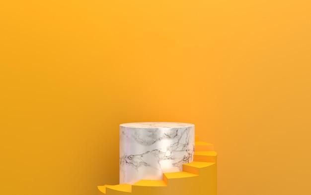 Sfondo giallo, piedistallo in marmo cilindro, gruppo di forme geometriche astratte, rendering 3d, scena con forme geometriche