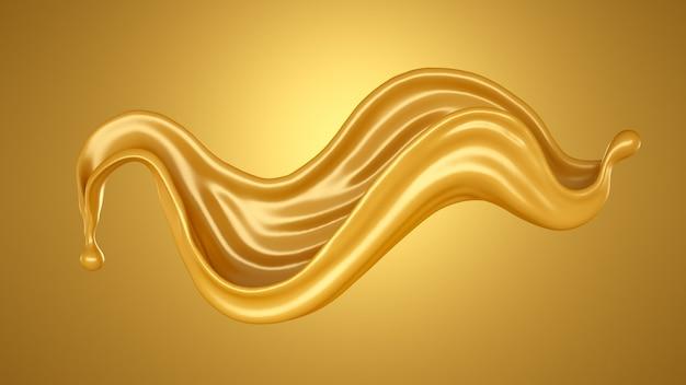 Sfondo giallo con una spruzzata di caramello. rendering 3d.